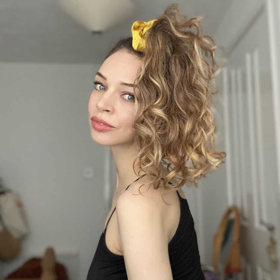 pineapple for curly hair with silk scrunchie