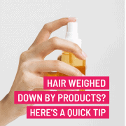 hair weighed down by products